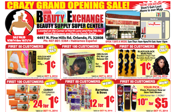 The Beauty Exchange circular, advertising the store's grand opening sale