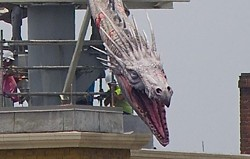 The Diagon Alley dragon has been installed at Universal Orlando's new Wizarding World (photo via @HateToFly)