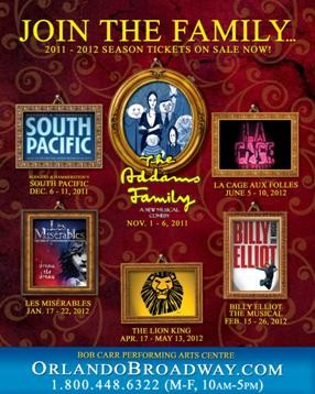 The newly-announced shows of Fairwinds Broadway Across America 2011-2012 season.