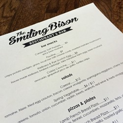 The Smiling Bison lunch menu.