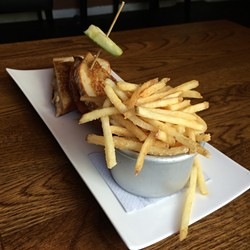 The supergrilled awesomecheese came with salt-and-vinegar shoestring fries.
