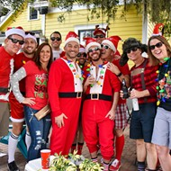 All the tipsy Santas from last weekend's SantaCon pub crawl in Thornton Park