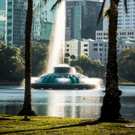 A man successfully swam all the way to the Lake Eola fountain but was forced out by authorities