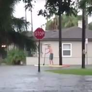 People are now paddle boarding through the streets in Florida