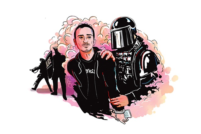 Aaron Cantu arrest (illustration by Anson Stevens Bollen)