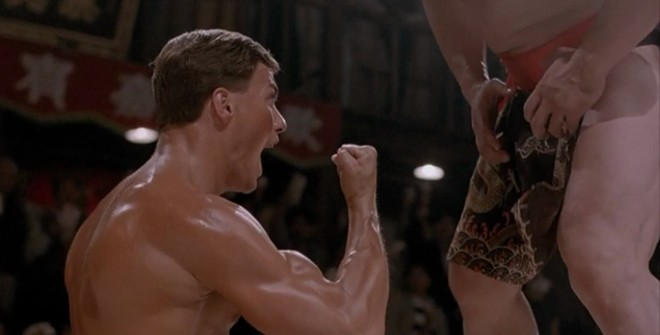 """JCVD GIVES THE """"EXPLODING PALM"""" AT THE CLIMAX OF BLOODSPORT"""