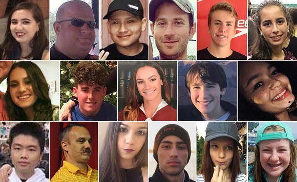 The 17 victims of the Parkland high school shooting. - PHOTO VIA CBS 12