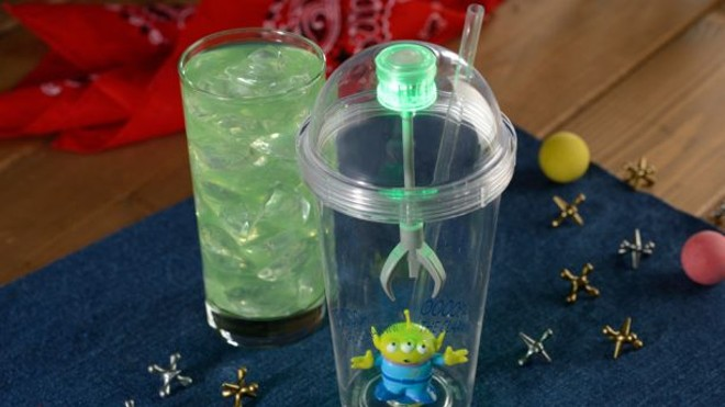 The signature Alien Sipper may be purchased and filled with any fountain drink or the signature Mystic Portal Punch which is basically Powerade Mountain Berry Blast with hints of lemon-lime and tangerine - PHOTO VIA DISNEY