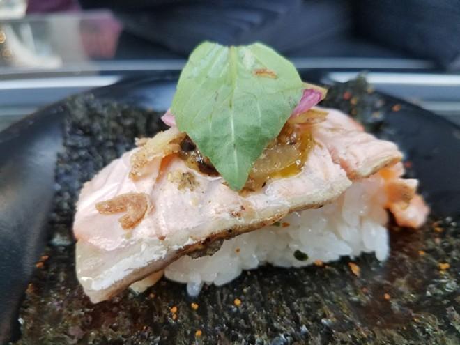 Binchotan salmon hand roll (SushiPop) - FAIYAZ KARA