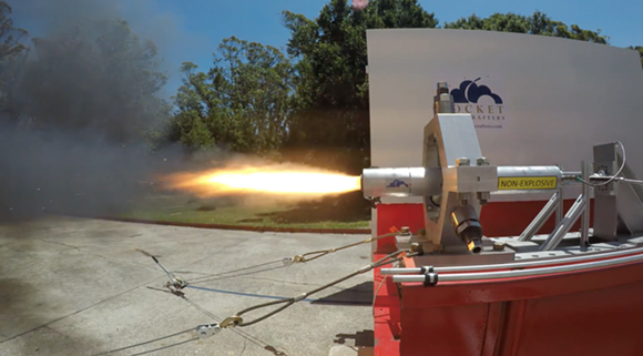 A hybrid rocket engine test-fires for 10 seconds using 3D-printed fuel on Monday, May 7 outside Rocket Crafters' manufacturing warehouse in Cocoa Beach, Florida. - SCREENGRAB VIA ROCKET CRAFTERS