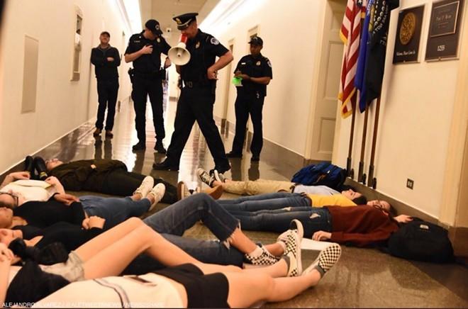 "A recent ""die in"" at Speaker Paul Ryan's office in Washington, D.C. - PHOTO VIA DAVID HOGG/TWITTER"