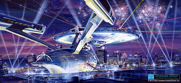 The planned but never realized full scale Starship Enterprise in Las Vegas - IMAGE VIA THE GODDARD GROUP