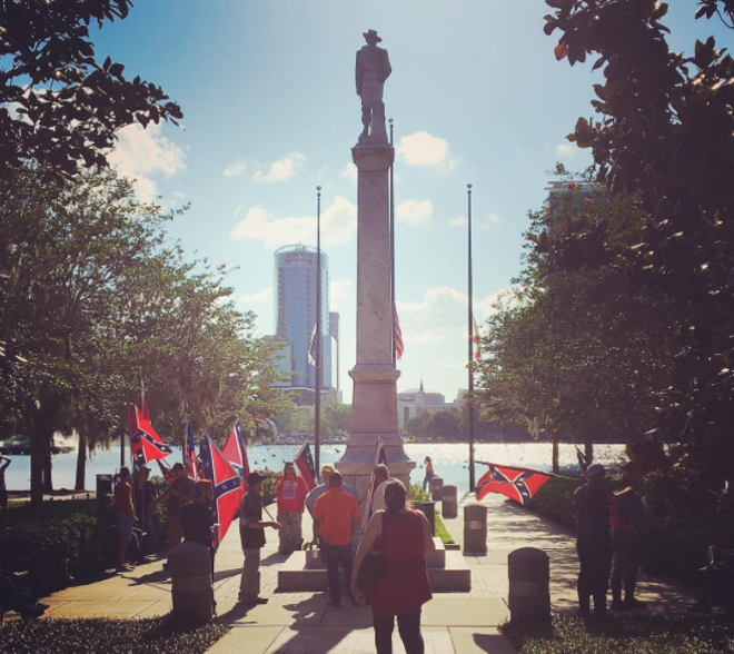 """The """"Johnny Reb"""" Confederate statue at Lake Eola Park before it was removed - PHOTO VIA ORLANDOWEEKLY/INSTAGRAM"""