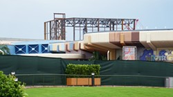 The Guardians of the Galaxy ride building as seen with the Innoventions building in the forefront. - IMAGE VIA BIORECONSTRUCT | TWITTER