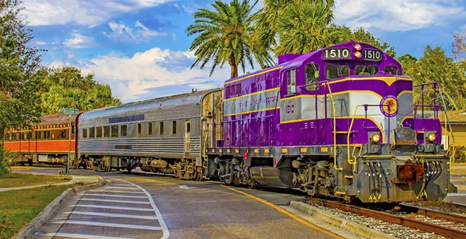 Royal Palm's vintage diesel-driven passenger train