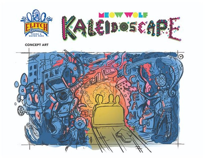 Concept art for Meow Wolf's Kaleidoscape amusement park ride - IMAGE VIA ELITCH GARDENS
