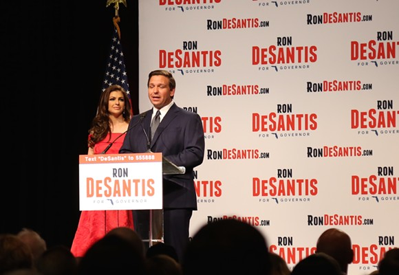 Following a victory in the Republican primary, U.S. Rep. Ron DeSantis speaks to a crowd of supporters on Tuesday night during his election watch party at the Rosen Shingle Creek resort in Orlando. - PHOTO BY JOEY ROULETTE