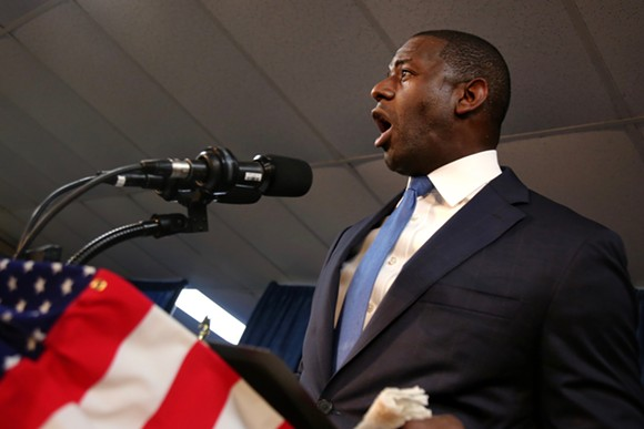 Andrew Gillum gives a speech in Orlando at a Democratic unity rally on Friday, Aug. 31. - PHOTO BY JOEY ROULETTE