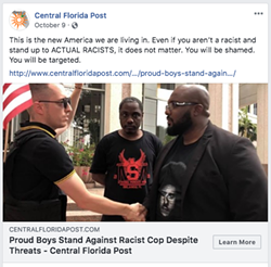 Jacob Engels wearing the Proud Boys shirt alongside a headline from his publication about the local Proud Boys