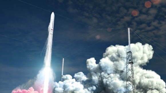 A rendering of Relativity's flagship launch vehicle, Terran 1, blasting off. - RENDER COURTESY OF RELATIVITY SPACE