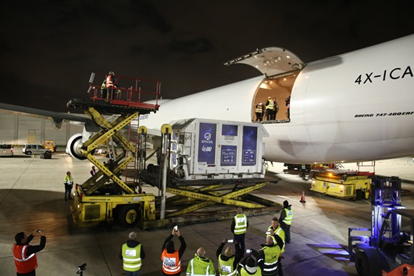 Locked in a custom shipping container, Beresheet is loaded onto a cargo plane at the Ben Gurion Airport in Israel for its flight to Orlando. - PHOTO COURTESY OF SPACEIL