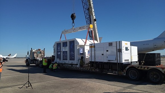 Beresheet is loaded onto a truck at the Orlando International Airport on Friday morning. - PHOTO COURTESY OF SPACEIL