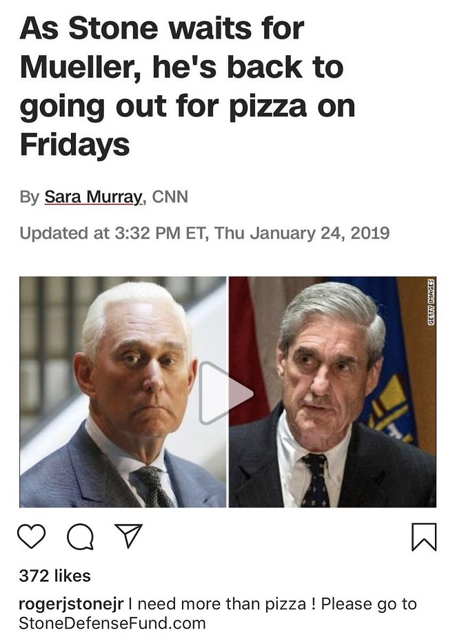 PHOTO VIA ROGER STONE/INSTAGRAM