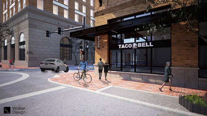 Rendering of new downtown Orlando Taco Bell Cantina - PHOTO VIA JLL BROKERS
