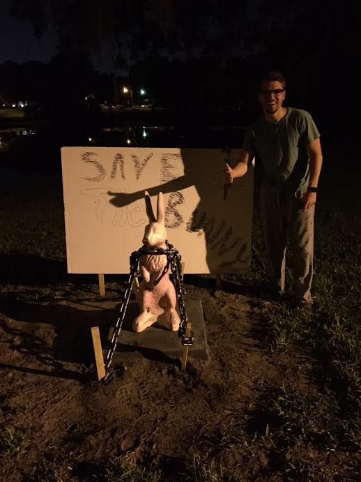 Orlando Weekly multimedia account representative Jon Bowers found that residents chained the bunny down late last night.
