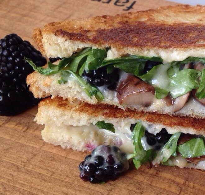 Toasted's blackberry melt, with fontina, arugula and fresh berries - PHOTO VIA TOASTED ON FACEBOOK