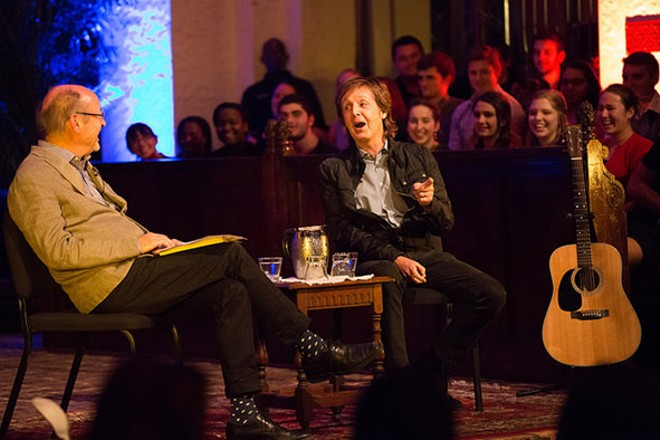 Paul McCartney shares songwriting tips with Billy Collins at Rollins College, Oct. 23, 2014 - PHOTO VIA ROLLINS.EDU