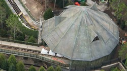 Hagrid's hut. Note the coaster under wraps entering the building. - PHOTO VIA BIORECONSTRUCT/TWITTER