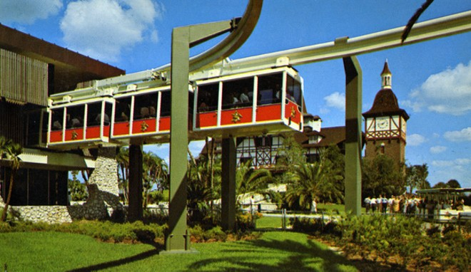 Sadly, the Busch Gardens monorail won't be returning for the 60th Anniversary. The monorail building is now used as the Cheetah Hunt queue and load/unload area. - PHOTO BY WARD BECKETT VIA STATE ARCHIVES OF FLORIDA