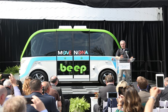 NAVYA CEO Jerome Rigaud unveils AUTONOM, the self-driving shuttle soon to be tailored for Lake Nona. - PHOTO BY JOEY ROULETTE