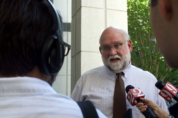 Public Defender Robert Wesley speaks to the media at a press conference Tuesday, Aug. 11 2015.