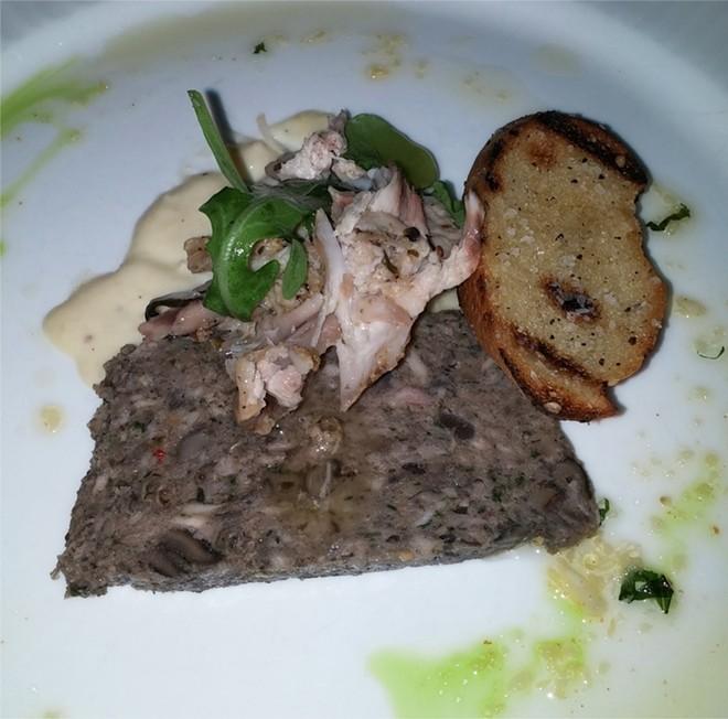 4th Course: escargots terrine, confit of Seely's Ark rabbit, arugula, pickled onions, grilled bread (wine: Carpineto, Chianti Riserva, Tuscany, Italy 2010) - PHOTO BY FAIYAZ KARA