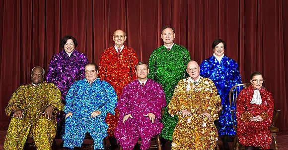 This is not the Florida Supreme Court. It's the Supreme Court of the United States Photoshopped into disco robes.
