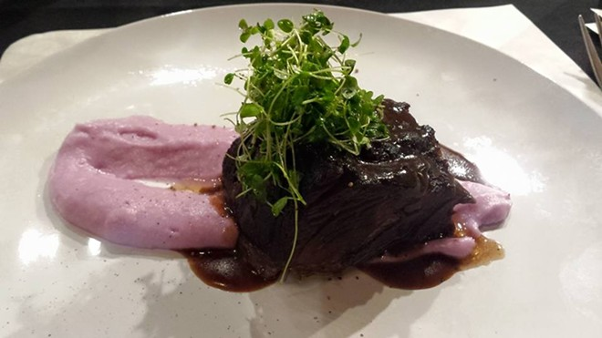 Short rib, glazed onion, truffled purple yam, lengua lardoons