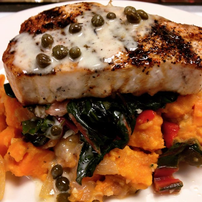 Possible NOVA menu item: Pine Island black grouper with sweet potato bacon hash, wilted Tuscan kale, lobster butter - PHOTO VIA NOVA ON FACEBOOK