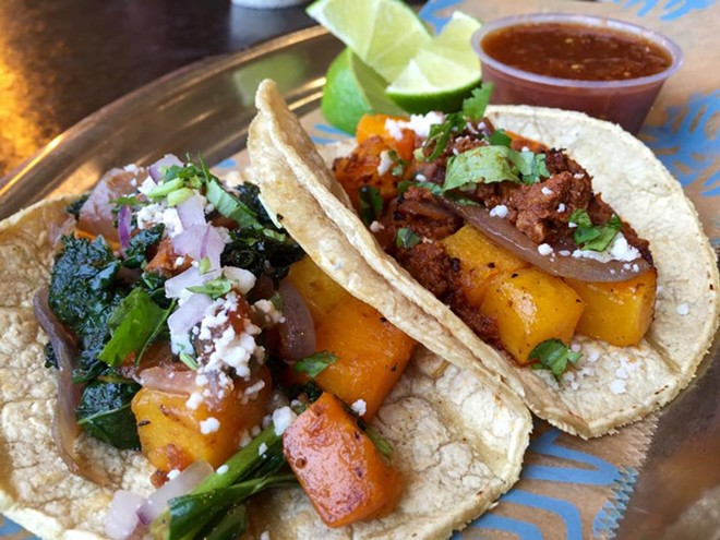 Butternut tacos two ways: with braised kale or chorizo - PHOTO VIA FRONTERA FRESCO ON FACEBOOK