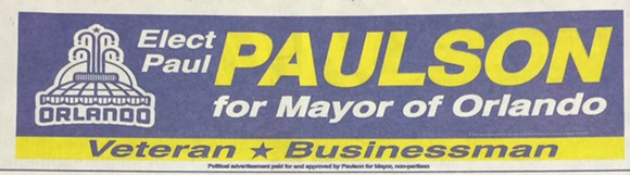 The bottom of the Paul Paulson for Mayor ad.