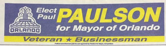 The bottom of the Paul Paulson for Mayor ad.