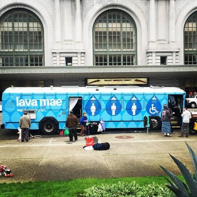 A Lava Mae bus in San Francisco, converted into a mobile shower unit - VIA LAVA MAE FACEBOOK