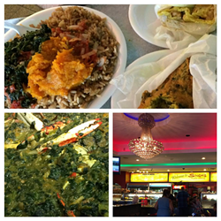 Pumpkin and tomato choka over rice & beans, a double, a saheena fritter, a tray full of crab & callaloo, and a snazzy chandelier at Singh's Roti Shop - PHOTO BY JESSICA BRYCE YOUNG