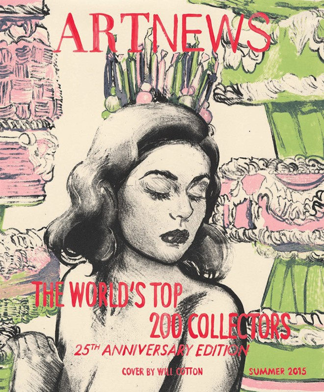 """This Artnews magazine cover was created by Will Cotton at Flying Horse. - """"CANDY CROWN"""" BY WILL COTTON"""