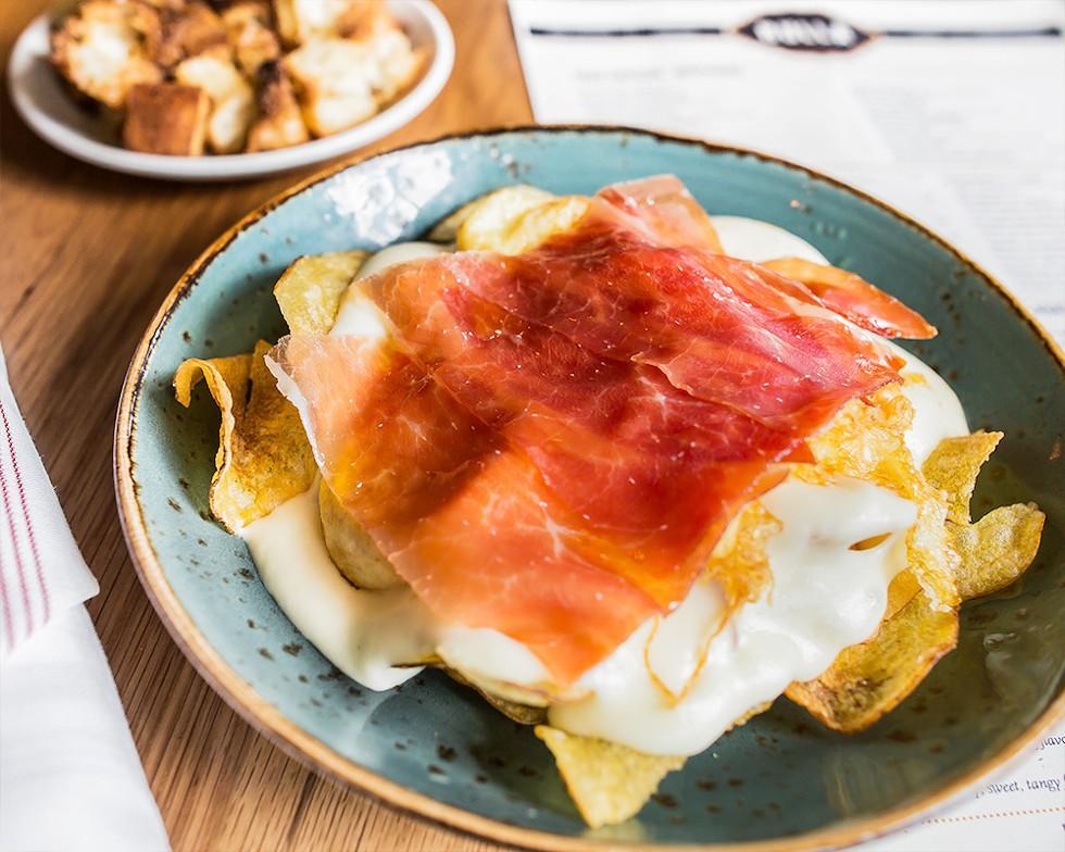Huevos Bulla: eggs, potato chips, and Serrano ham - PHOTO COURTESY OF BULLA GASTROBAR