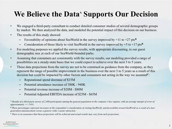 A SLIDE FROM TODAY'S SEAWORLD PRESS PRESENTATION