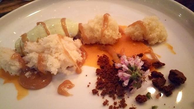 Brown butter cake, cinnamon basil and lemon balm ice cream, carrot coulis, ginger snap crumble, basil flower