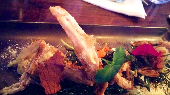 Salt and pepper soft shell crab, herb salad from Seito's garden, nuc cham dressing, garden peppers, purple snow peas