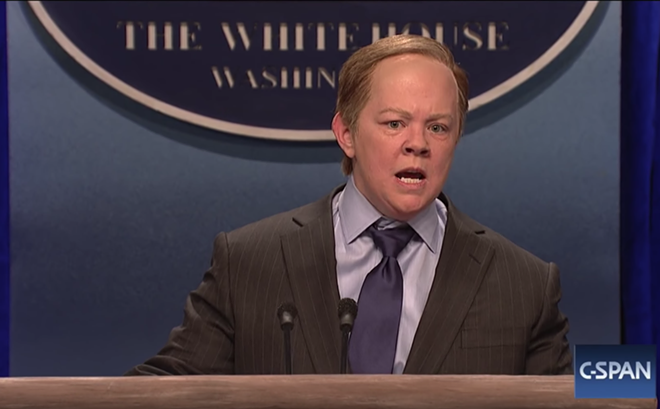 Comedian Melissa McCarthy parodies former White House spokesman Sean Spicer - PHOTO VIA SNL/NBC